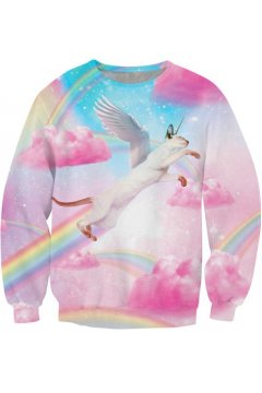 ​Pink Blue Pastel Gradual Color Rainbow Angel Cat Long Sleeves Sweatshirts