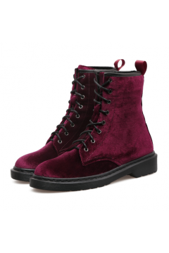 ​Velvet Suede Burgundy Lace Up High Top Punk Rock Gothic Military Combat Boots Shoes
