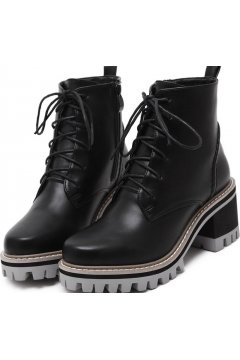Black Leather Lace Up High Top Chunky Sole Punk Rock Military Combat Boots Women Shoes