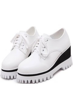 White Leather Platforms Lace Up Wedges Punk Rock Gothic Oxfords Women Shoes