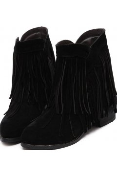 Vintage Black Suede Cross Fringes Punk Rock Ankle Women Boots Shoes