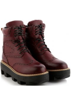 Vintage Brown Leather Lace Up High Top Chunky Sole Punk Rock Military Combat Boots Women Shoes