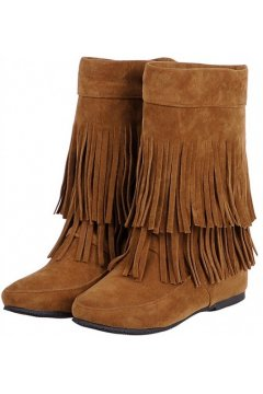 Brown Suede Fringes Bohemia Tribal Hidden Wedges Mid High Top Winter Boots Shoes