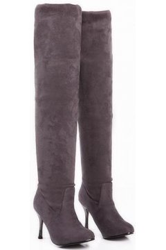 Grey Foldable Suede Point Head Silver Stiletto High Heels Over Knee Length Long Boots Shoes