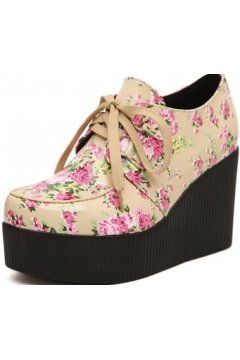 Brown Khaki Pink Flower Roses Lace Up Creepers Platforms Wedges Gothic Grunge Women Shoes Heels