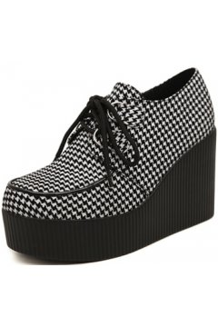 Black White Houndstooth Checkers Roses Lace Up Creepers Platforms Wedges Gothic Grunge Women Shoes Heels