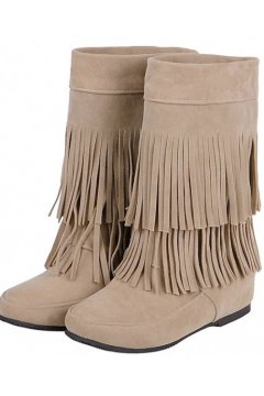 Khaki Tan Brown Suede Fringes Bohemia Tribal Hidden Wedges Mid High Top Winter Boots Shoes