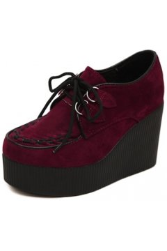 Red Burgundy Stitches Black Lace Up Creepers Platforms Wedges Gothic Grunge Women Shoes Heels
