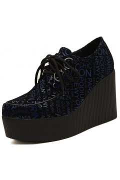 Black Blue Fashion Words Lace Up Creepers Platforms Wedges Gothic Grunge Women Shoes Heels