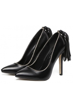 Black Back Tassels Stiletto High Heels Point Head Women Shoes