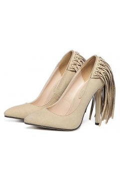 Beige Khaki Suede Point Head Back Fringes High Heels Stiletto Shoes