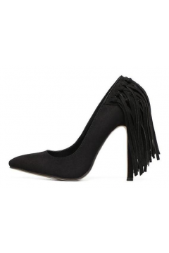 ​Black Suede Point Head Back Fringes High Heels Stiletto Shoes
