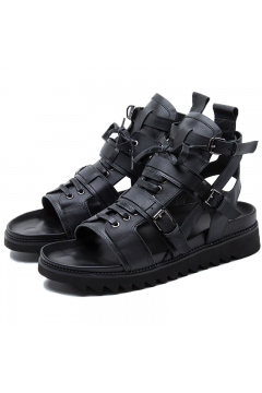 Black Leather Military Boots Mens Roman Gladiator Sandals Shoes