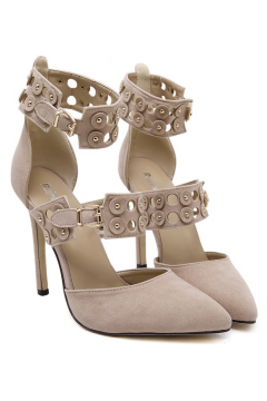 ​Beige Khaki Suede Point Head Ankle Buckle Straps Punk Rock High Heels Stiletto Shoes