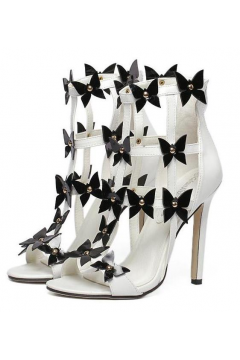 White Straps Strapy Black Flowers Florals Bridal High Heels Stiletto Shoes​