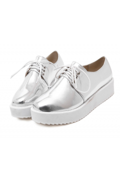Silver Chrome Punk Rock Lace Up Platforms Oxfords Walking Women Shoes