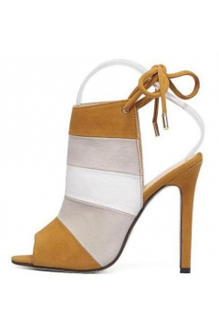 Brown Rainbow Stripes Open Toe Slingback Suede High Heels Stiletto Sandals Shoes