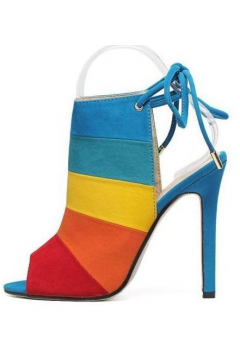 Colorful Rainbow Stripes Open Toe Slingback Suede High Heels Stiletto Sandals Shoes​