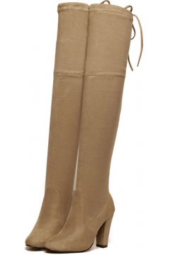 Suede Brown Mocha Long Knee High Heels Point Head Tied Up Boots Women Shoes