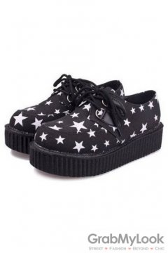 Black White Harajuku Star Lace Up Platforms Creepers Oxfords Shoes