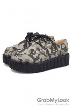 Green Gray Harajuku Camouflage Military Lace Up Platforms Creepers Oxfords Shoes
