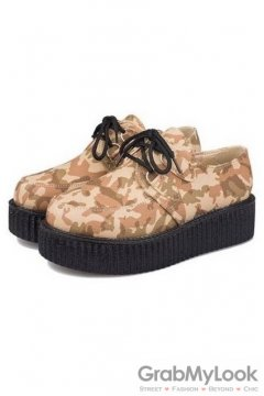 Brown Harajuku Camouflage Military Lace Up Platforms Creepers Oxfords Shoes