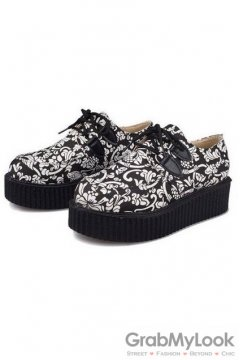 Black White Vintage Pattern Lace Up Platforms Creepers Oxfords Shoes