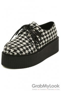 Houndstooth Checkers Pattern Old School Platforms Punk Rock Lace-Up Oxfords Flats Creepers Shoes
