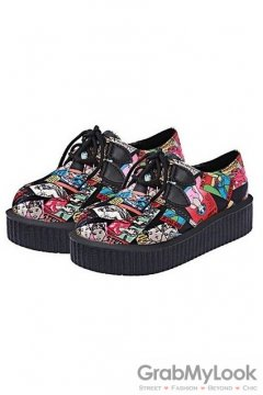 Black Colorful Comic Harajuku Lace Up Platforms Creepers Oxfords Shoes