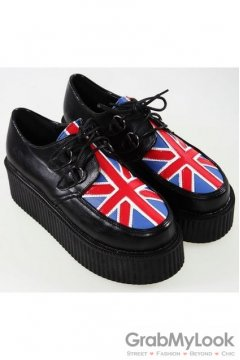 Union Jack UK Flag Old School Platforms Punk Rock Lace-Up Oxfords Flats Creepers Shoes