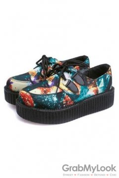 Blue Green Galaxy Universe Lace Up Platforms Creepers Oxfords Shoes