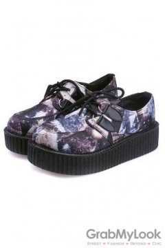 Purple Galaxy Universe Lace Up Platforms Oxfords Creepers Shoes