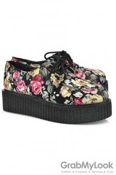 Floral Flowers Vintage Old School Lace Up Oxfords Flats Creepers Shoes
