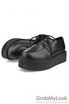 Black Leather Lace Up Platforms Creepers Oxfords Shoes
