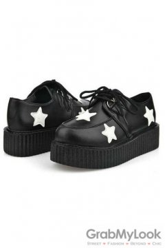 Leather Black White Star Lace Up Platforms Creepers Oxfords Shoes
