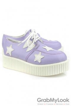 Leather Purple White Star Lace Up Platforms Creepers Oxfords Shoes