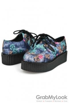 Blue Vintage Flowers Lace Up Platforms Creepers Oxfords Shoes