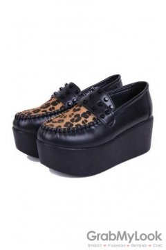 Leopard Black Studs Loafer Platforms Creepers Oxfords Shoes