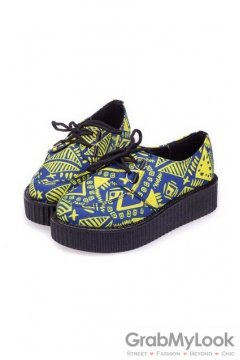 Blue Yellow Tribal Vintage Old School Lace Up Oxfords Flats Creepers Shoes