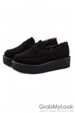 Black Suede Loafter Platforms Creepers Oxfords Shoes