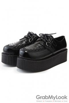 Lace Up Creepers Shoes with PU Detailed Toe