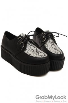 Faux Snake Skin Leather Old School Platforms Punk Rock Lace-Up Oxfords Flats Creepers Shoes