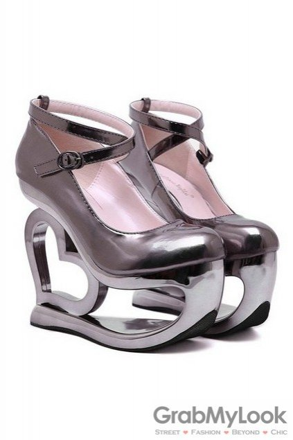 Shiny Bronze Platforms Straps Wedges Weird High Heart Heels Shoes