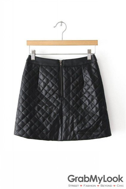 Apparel :: Skirt :: Black White Leather Quilted A Line Sexy Mini Skirt