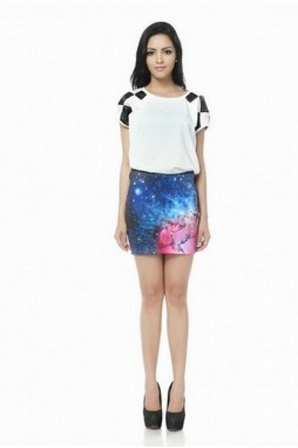 Apparel :: Skirt :: Blue Pink Galaxy Universe Rock Mini Pencil Skirt