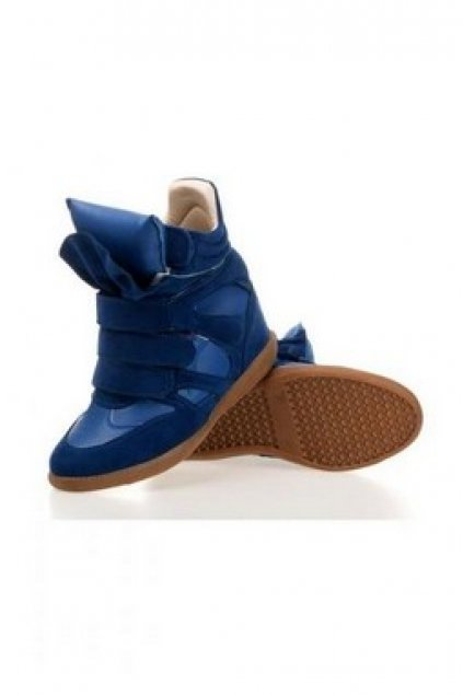 3aa935bd1bab Shoes    Sneakers    Suede Blue High Top Hidden Wedges Ankle Boots ...