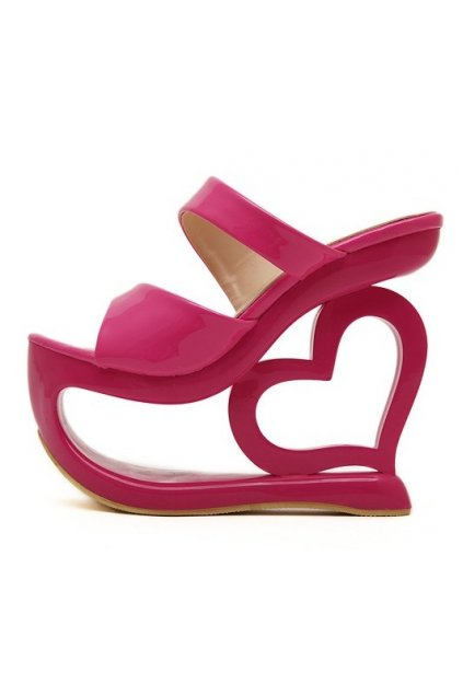 Shiny Glossy Pink Platforms Wedges Weird High Heart Heels Shoes Sandals