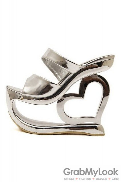 Shiny Shiny Platforms Wedges Weird High Heart Heels Shoes Sandals
