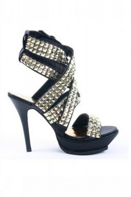 Shoes :: Sandals :: Gold Silver Square Studs Punk Rock Gladiator ...