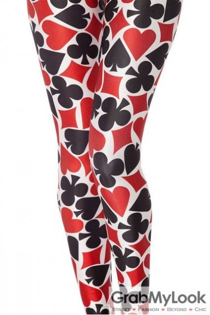 Poker Print Skinny Long Pants Tights Leggings